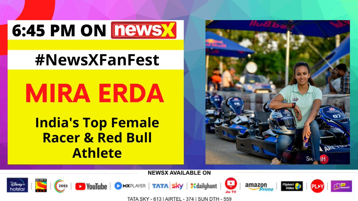 #NewsXFaNFestSpecial | Watch Mira Erda (@miraerda) India's Top Female Racer & Red Bull (@redbullindia) Athlete join NewsX for an exclusive 'Fan Hangout'. . . . Don't forget to tune in 6:45 pm today. @UdayPratapSingh @aishvaryjain https://t.co/CJ4Y9DPIT1