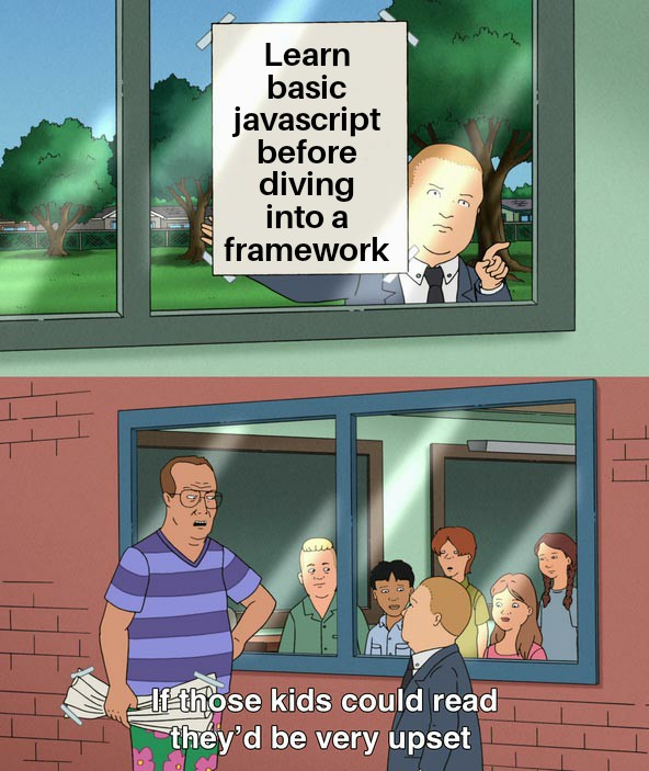A gentle reminder to learn #JavaScript before jumping in a framework  <br>http://pic.twitter.com/mEMqvDqlSd