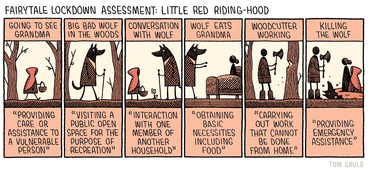 Fairytale Lockdown Assessment: Little Red Riding Hood (my cartoon for yesterdays @guardianreview p.s. my new book of cartoons is out now: tomgauld.com