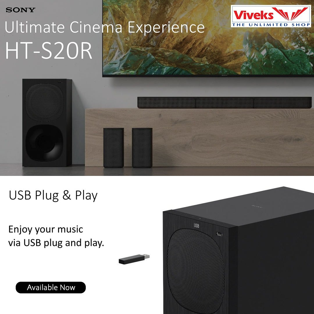 Experience the theatre at home with Sony Ultimate Cinema Experience HT - S20R. Now available at all Viveks stores in Chennai.  #Nammaviveks #Sony #hometheatre #plugnplay #cinemaexperience #offers #sale #discounts #quarantine #Lockdown #Covid_19 #Viveks #Electronics pic.twitter.com/N3amwgeO4C