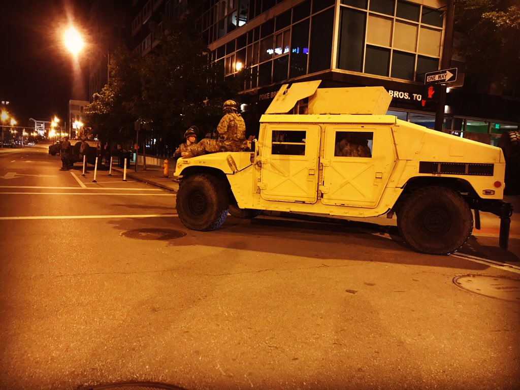 .@OHNationalGuard humvees are parked all over downtown Columbus to prevent more destructive protests. #10tv https://t.co/mDJ4rYeOFR