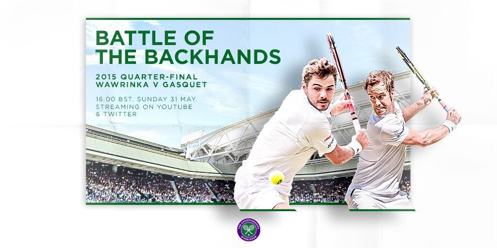 If youre a fan of the single-handed backhand, you wont want to miss this... Join us on Twitter at 4pm BST as we relive the classic 2015 Quarter-final between Stan Wawrinka and Richard Gasquet ✨ #Wimbledon