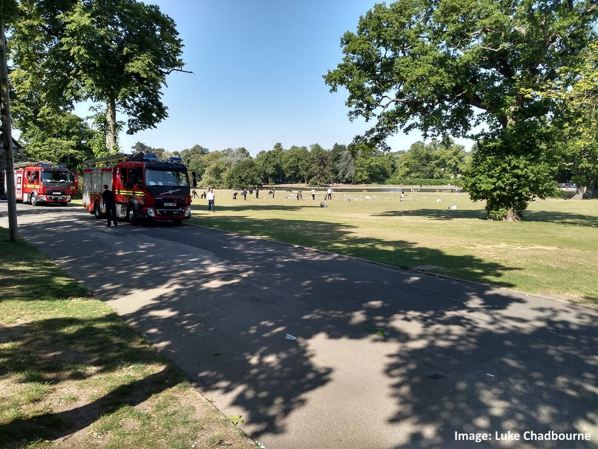 #B14Community - So is this what people refer to when they say the 'new normal'? - Firefighters (yes you read that right) are currently litter picking in #CannonHill clearing up the crap left behind by people who visited the park yesterday. 😡 #Birmingham