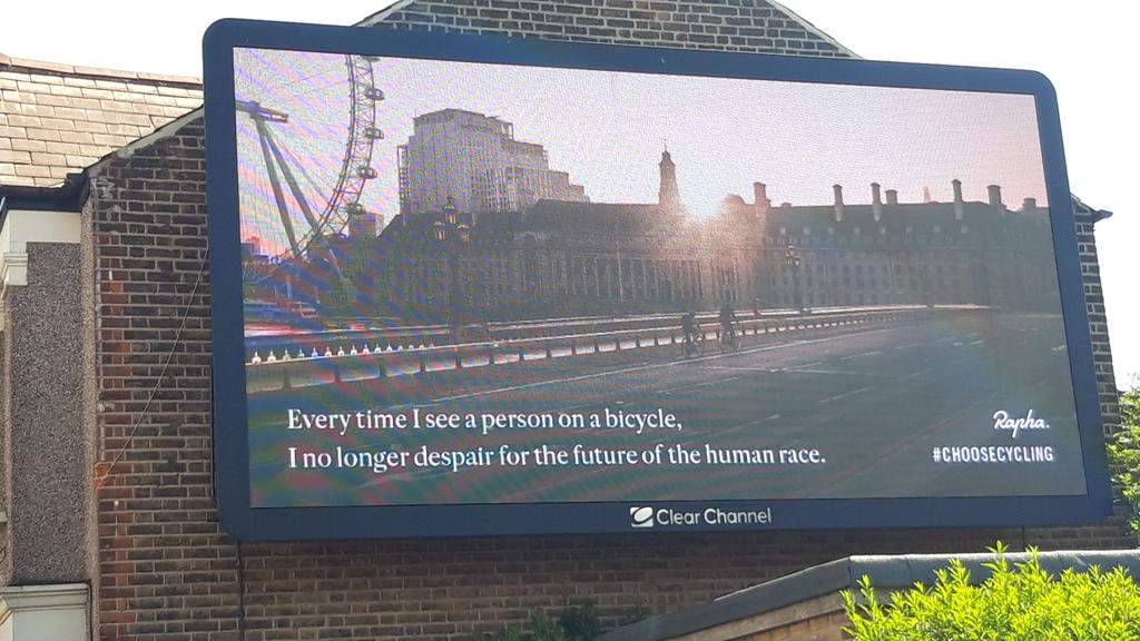 Saw a nice bit of billboard advertising from @rapha this morning - right by a used car showroom!