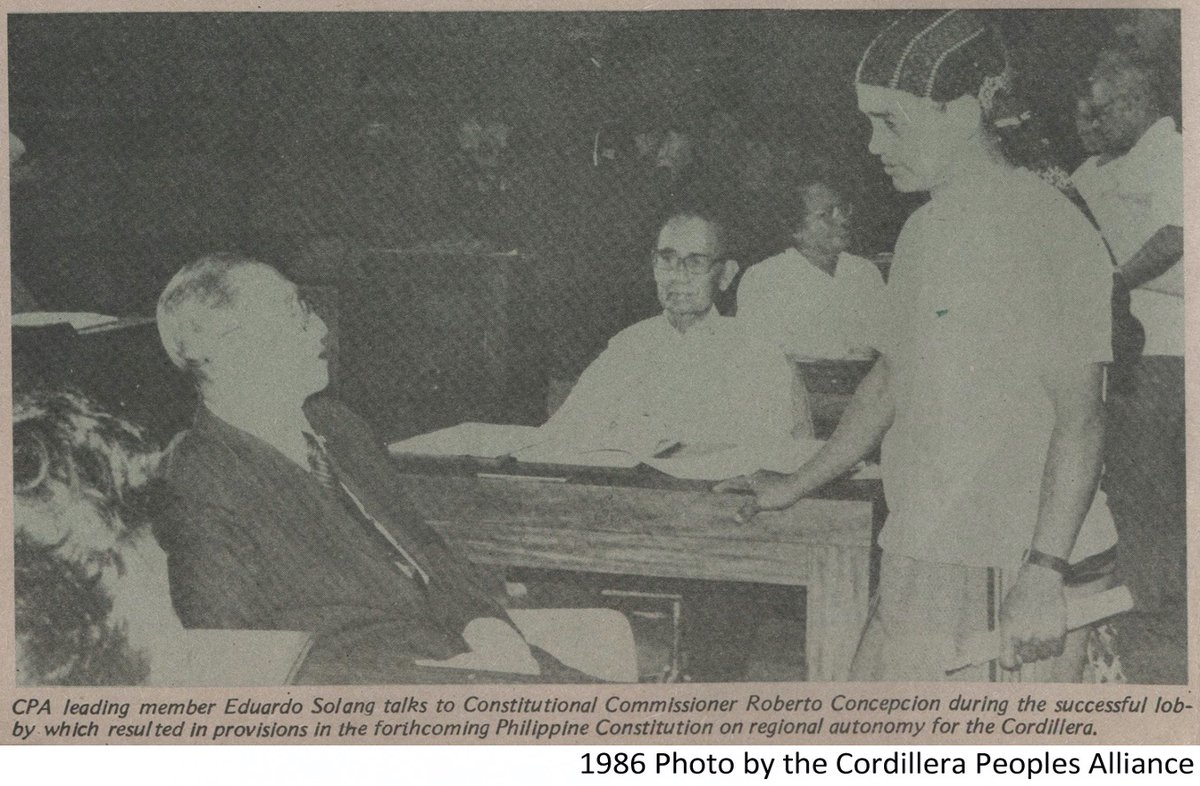 Setting the Record Straight against Historical Revisionism: Gains and Lessons of the Cordillera Mass Movement facebook.com/cpaphils/posts… PHOTO: CPA pioneer Eduardo Solang with Constitutional Commissioner Roberto Concepcion.