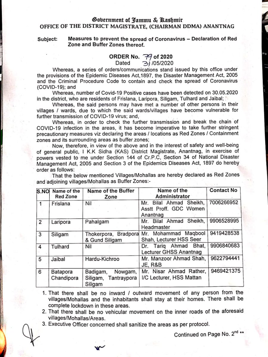#NewsAlert: Following villages declared as Red & Buffer Zones by Deputy Commissioner Anantnag. #KashmirMirror<br>http://pic.twitter.com/Nw6qWgES8i