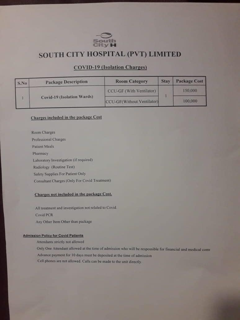 South City -Covid chargers without vent (1,00,000/day), with vent (1,50,000/day), minimum deposit (one million); Agha Khan similar package, Ziauddin without vent (55,000/day) time to call nationalisation of all hospitals @Asad_Umar @ImranKhanPTI @MuradAliShahPPP @OfficialDGISPRpic.twitter.com/8K82Y5QHES