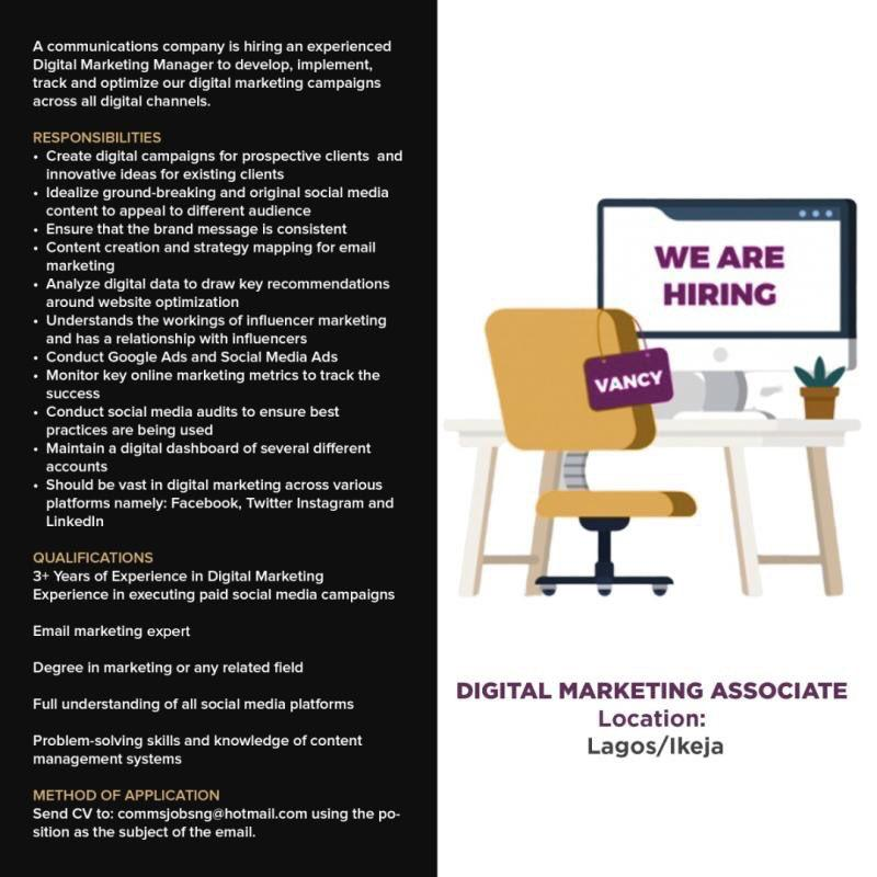 Digital marketing associate #lagos pic.twitter.com/Gw9ookCYbF