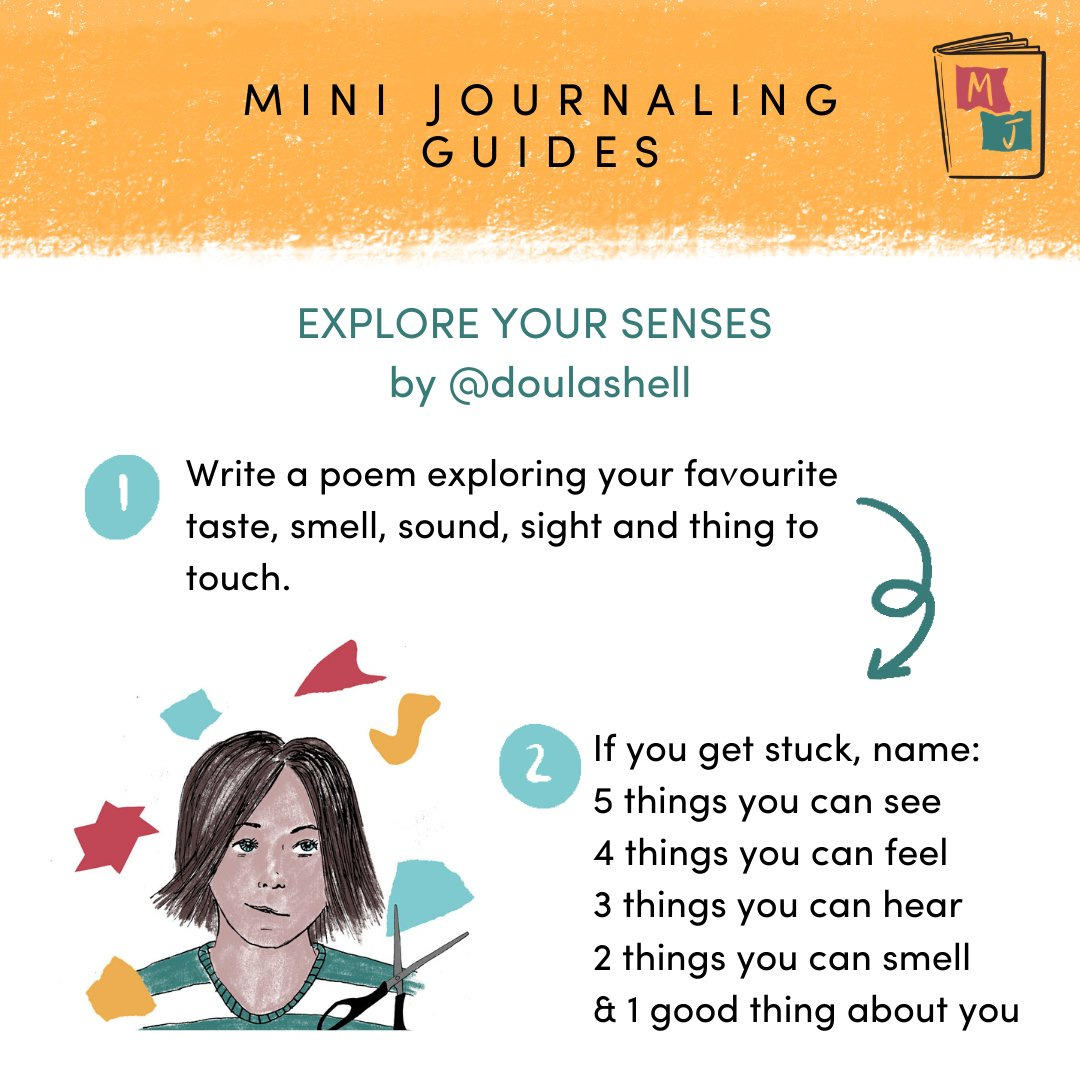 Today's mini-guide is a quick creative prompt by @doulashell that can help to ground us. Focus on a favourite scent, view or object...By slowing everything right down, it can sometimes make the bigger stuff easier to deal with #maternaljournal #creativity #lockdownpic.twitter.com/WuPxKiW1RV