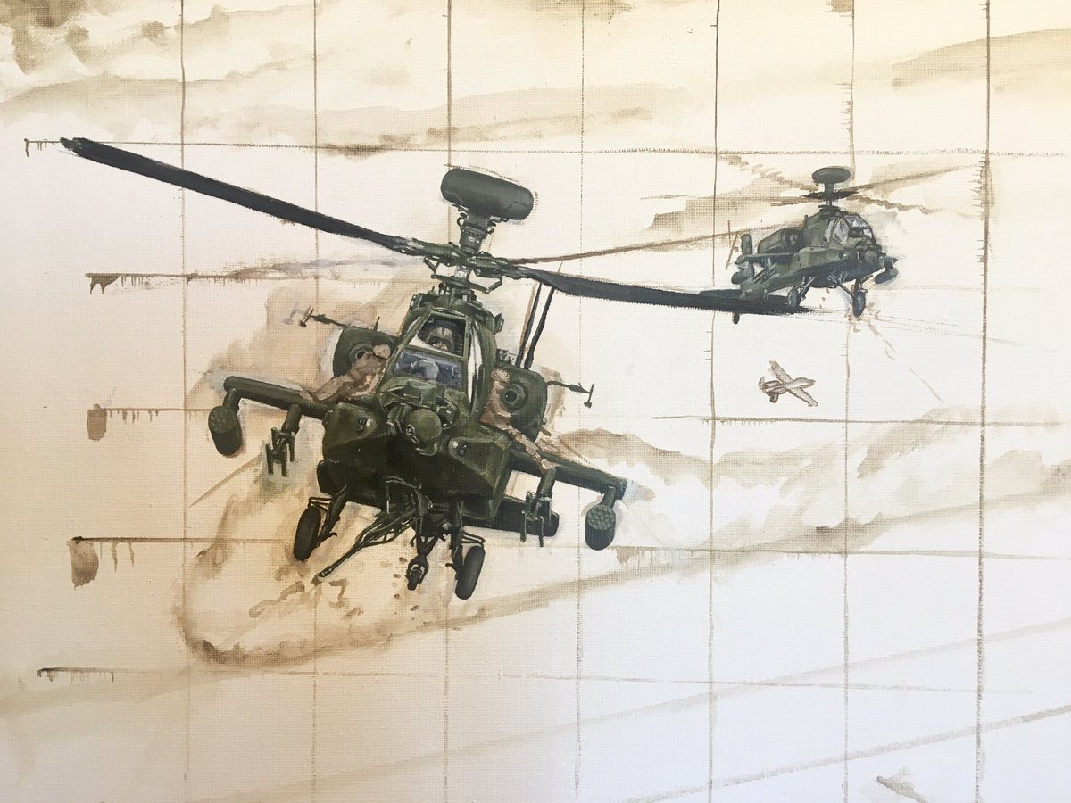 Slow progress so far, but enjoying the challenge. The Apache is such a complicated airframe. So many angles, bumps and lumps. #apache #armyaircorps #painting #oilpainting #military #aviationart #ah64 #gunship #army #royalmarines #afghanistan https://t.co/PPH61tzGa6