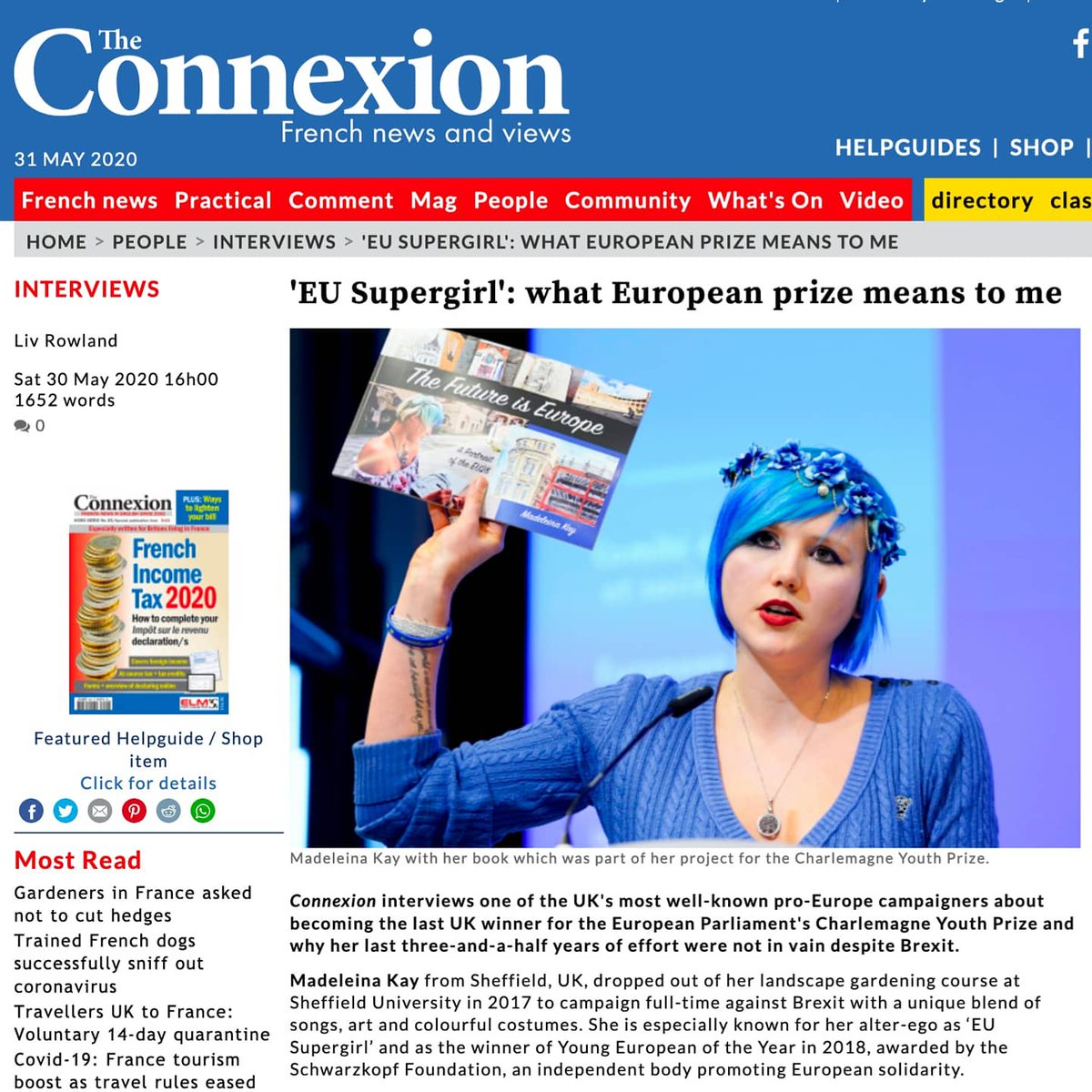 My interview for @ConnexionFrance magazine... about being awarded the UK #CharlemagneYouthPrize and why the last 4 years havent been a wasted effort 🇪🇺🇫🇷🇬🇧✊🏻 #LoveEurope #TheFutureisEurope connexionfrance.com/People/Intervi…