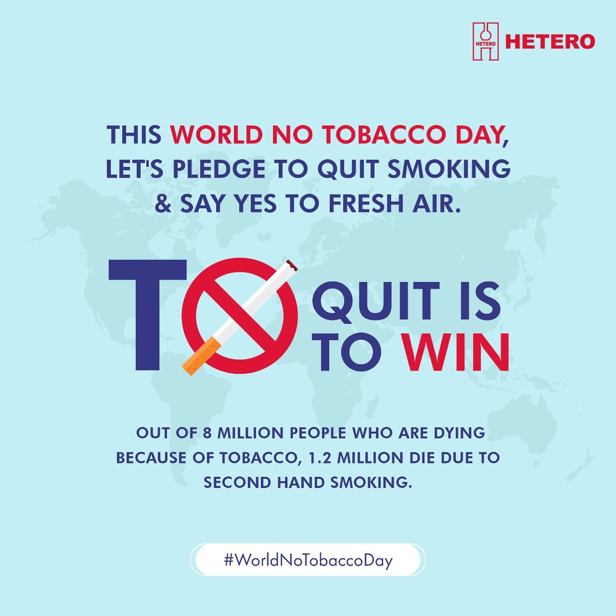 Let us all take a pledge to do our bit by putting an end to this life threatening habit. For the betterment and safety of the society and your own health, say no to tobacco. #WorldNoTobaccoDay   #Hetero #Pharma #Healthy #Health #HealthyLifestyle #HealthyLiving #HealthyLifepic.twitter.com/hCdXooF1Cy