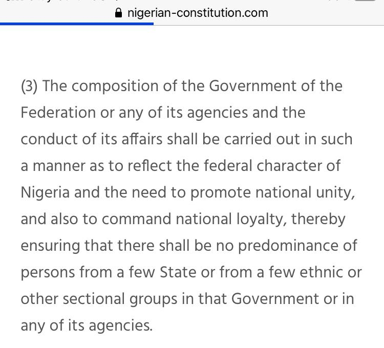 Your #NigerianConstitution states - 'Government of Nigeria shall reflect the federal character & need to promote national UNITY & command national LOYALTY. There shall be no PREDOMINANCE of persons from a FEW ethnic groups'. Few FULANIS are dominating & you allow it. #Zoo