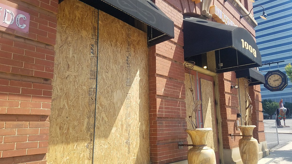 Some pics this from businesses damaged on Main Street last night from protests