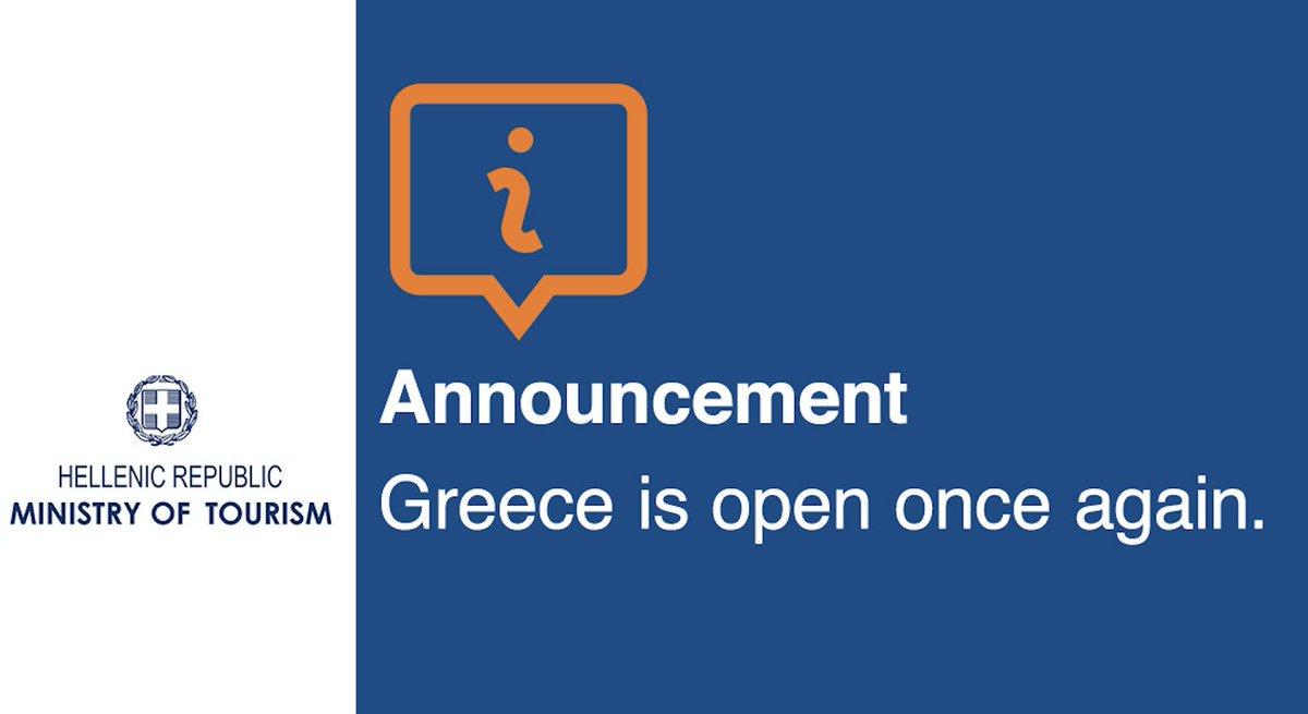 Welcome to Greece! Greece is open once again. #Greece  #greektourism #tourism  @PrimeministerGR  @htheoharis   https://t.co/w6nJZPSmSJ https://t.co/vurlNKWSSX