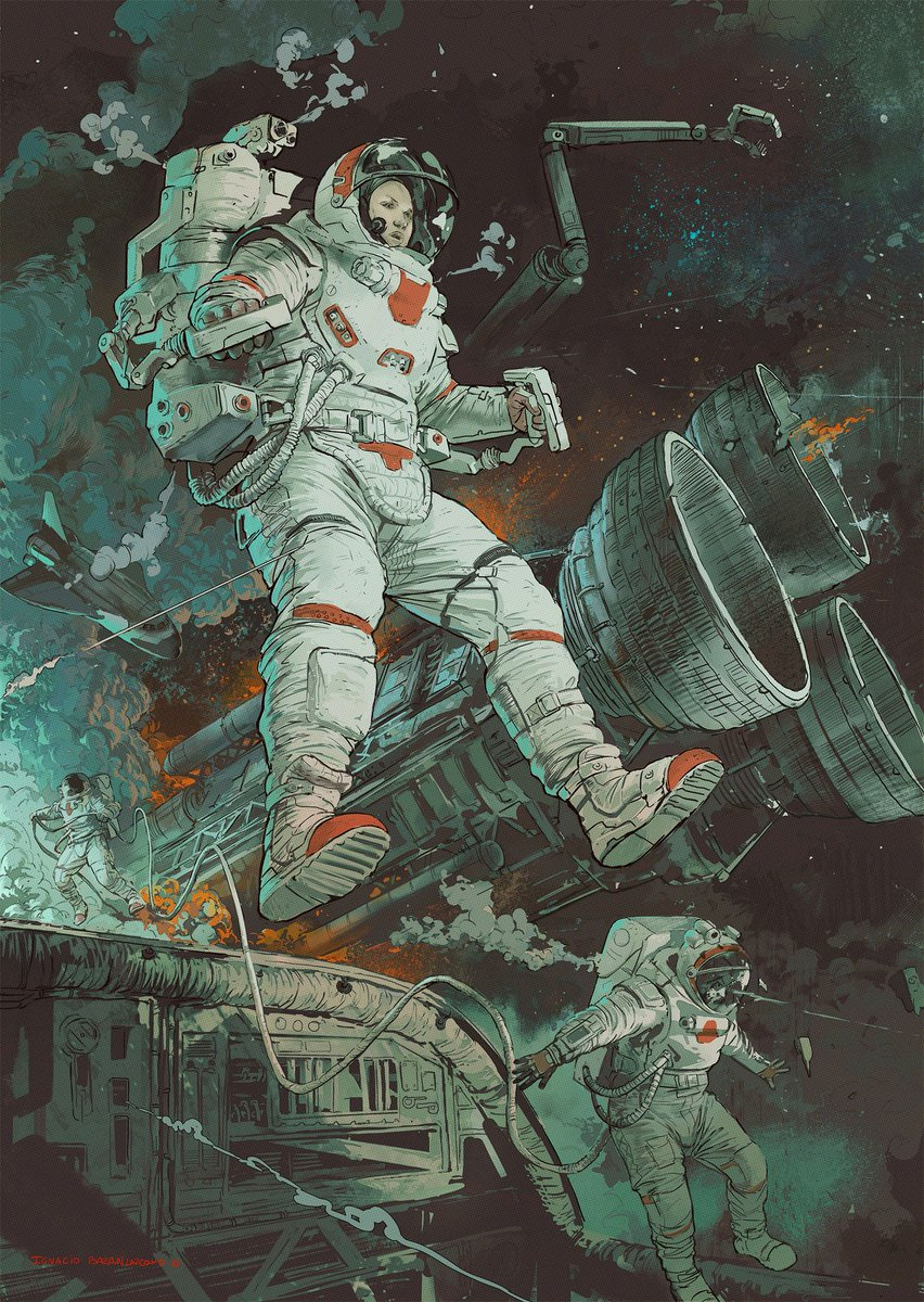 Falling Space, New Planet and Escape by Ignacio Bazan-Lazcano (2018-2019)<br>http://pic.twitter.com/UjdWbCj4L7