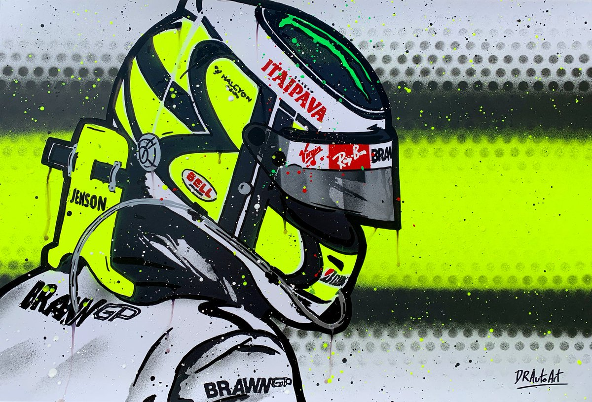 First of today's graffiti paintings is in my shop now. Jenson Button in his BrawnGP days. What a season that was! #drautoart  . . . #jensonbutton #button #jensonbutton_22 #jb22 #button22 #graffiti #graffitiart #f1 #brawngp #formula1 #f1champion https://t.co/6vyH1duNUj