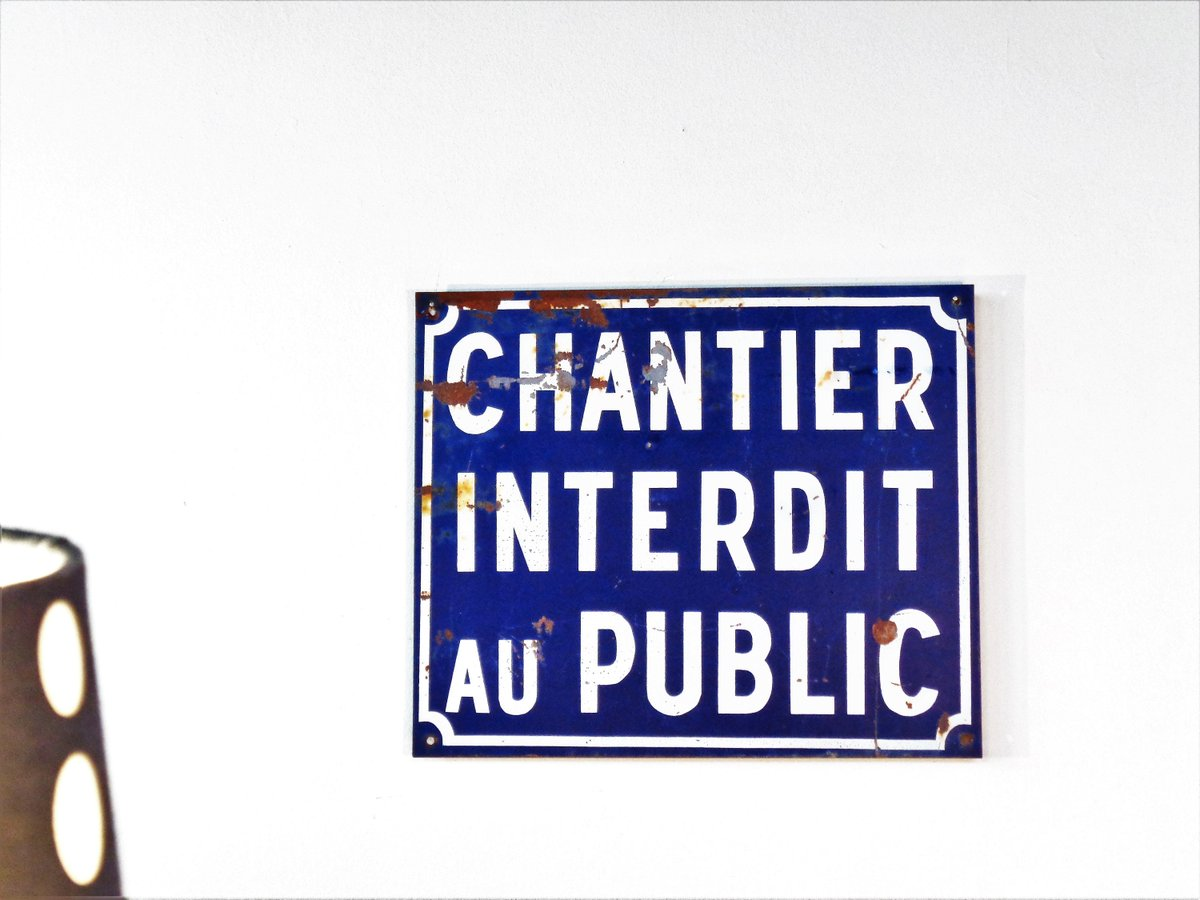 Vintage Street Sign French Metal Sign ''Chantier Interdit au Public'' Industrial Wall Decor Warning Sign Home Decor Made in France 80s  #FREESHIPPING #Holidays #Vintage #Retro #Vintage Fashion #April Fools #GIFT #ConstructionSign
