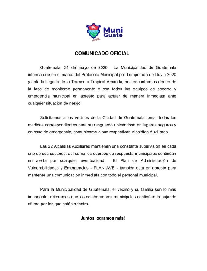 test Twitter Media - Municipalidad de Guatemala emite comunicado por situación de lluvias derivadas de la Tormenta Tropical Amanda e indican que se declaran en máxima alerta https://t.co/tx27e5liiZ