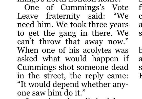 There are some pretty extraordinary quotes/revelations in @ShippersUnbound's STimes piece on the Cummings affair (not least confirmation that Vallance and Whitty refused to do the press briefing because they wouldn't back him) but this one is, to put it mildly, on another level. https://t.co/iAbTHgdUpa