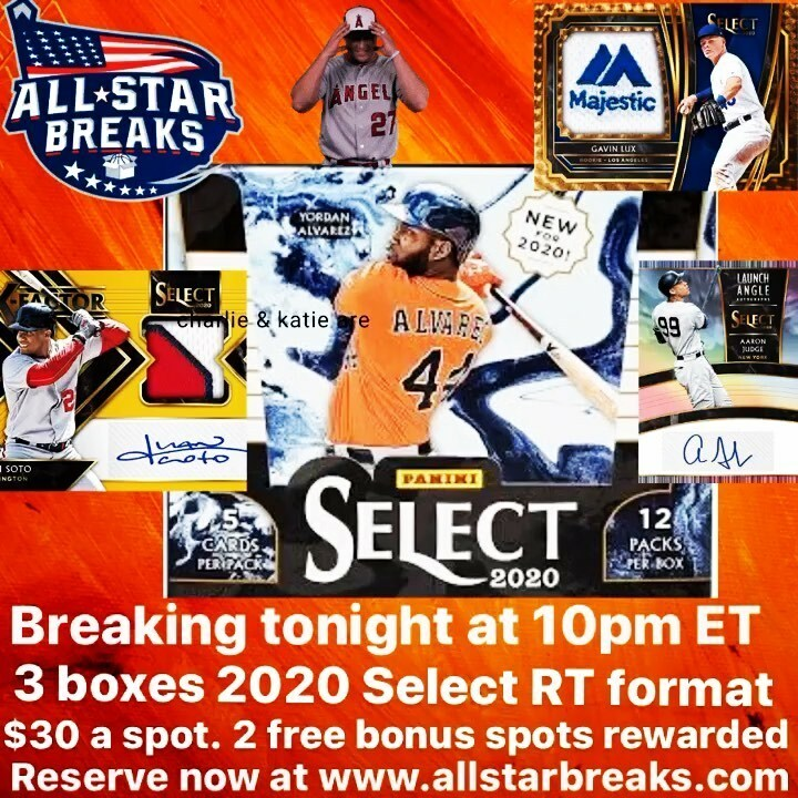 Breaking 3 boxes of 2020 Select tonight at 10pm ET on our YouTube channel. Random team format. $30 a spot. 2 free bonus spot rewarded!! Go to http://www.allstarbreaks.com to reserve your spot.  Only 19 spots remaining. #groupbreaks #selectbaseball #livebreaks #thehobby #whodoyoucol…pic.twitter.com/UnAjqsVd7D