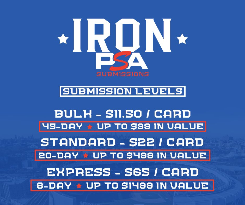 GET YOUR CARDS IN FOR OUR NEXT PSA SUBMISSION. CARD HAVE TO BE TO US BY JUNE 12th. DM ME WITH ANY QUESTIONS. @fireboxcases @Sportscardnati1  @PJHughes45  @garyvee  @PSAcard @EMPIREbreaks  @HobbyConnectorpic.twitter.com/YegVjQO242