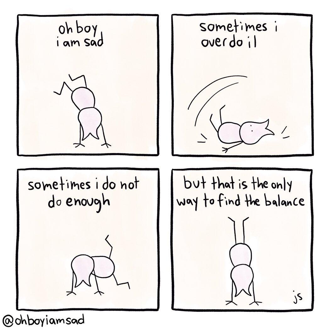 day 274 #balance #handstand #selflove #selfcare #comics #comic #webcomix #webcomics #webcomic #sad #sadcomics #sadness #ohboy #mentalhealth #ohboyiamsad #relatable #webtoon #comix #drawing #life #meirl #webcomicseries #comicartist #moodpic.twitter.com/2paKXm7Yh2