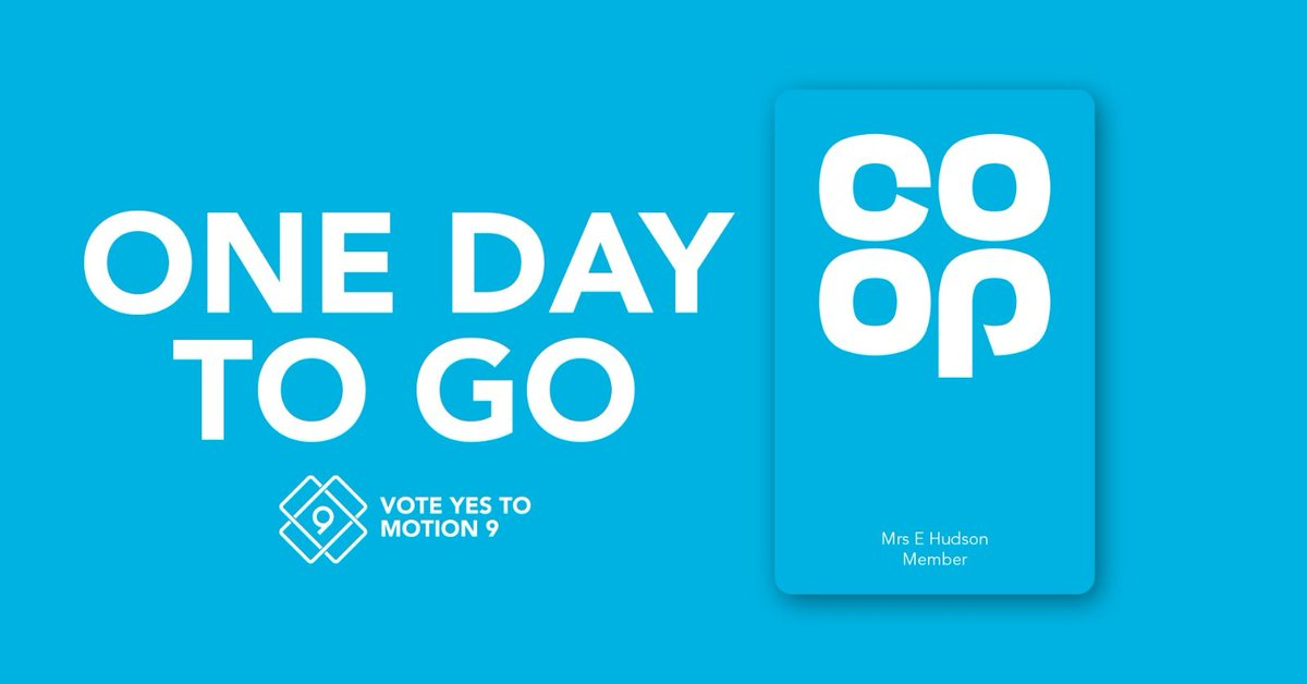 "If you shop @CoopUK, you may be able to vote in their AGM and keep the link between @CoopUK & @CoopParty – but theres just 24 hours left! 🔍Search your inbox for the subject line ""Co-operative Group - 2020 AGM"" 🔗 Click the link to the voting website 🗳️ Vote #YesToMotion9"