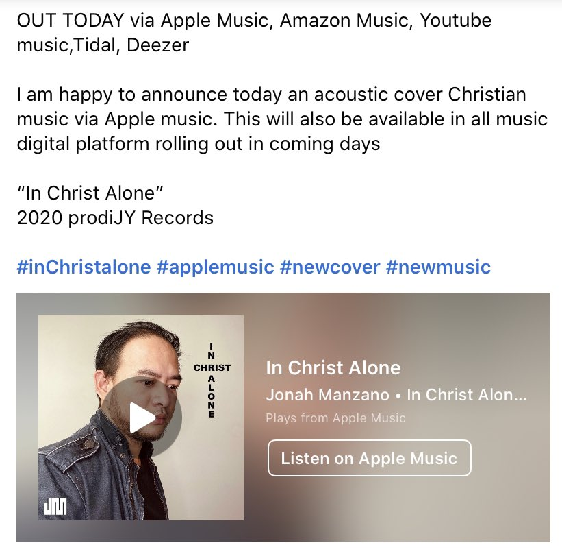 """OUT TODAY via Apple Music, Amazon Music, Youtube music,Tidal, Deezer I am happy to announce today an acoustic cover Christian music via Apple music. This will also be available in all music digital platform""""In Christ Alone"""" 2020 prodiJY Records #independentartist #musician pic.twitter.com/QxUiuYXE1s"""