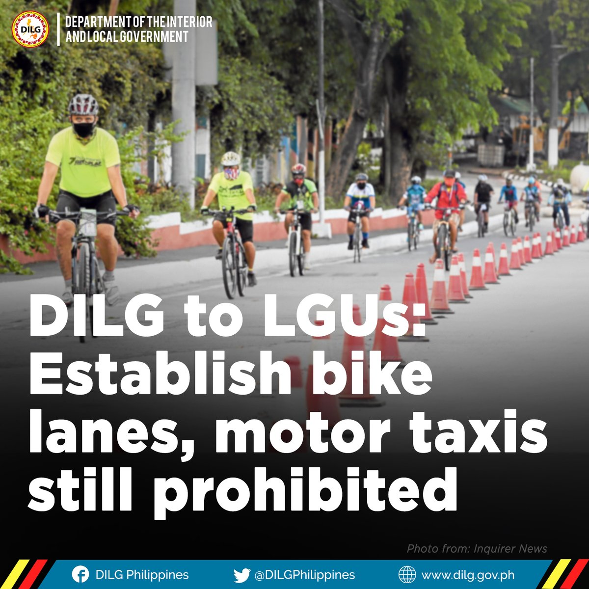 As the country transitions to a new normal, the DILG is urging all LGUs to establish bicycle lanes in all local roads to support those who will bike to their work destination due to the reduced capacity of public transportation under the GCQ. https://t.co/VpfgMX5QjU #BeatCOVID19 https://t.co/hDc0Zampi9