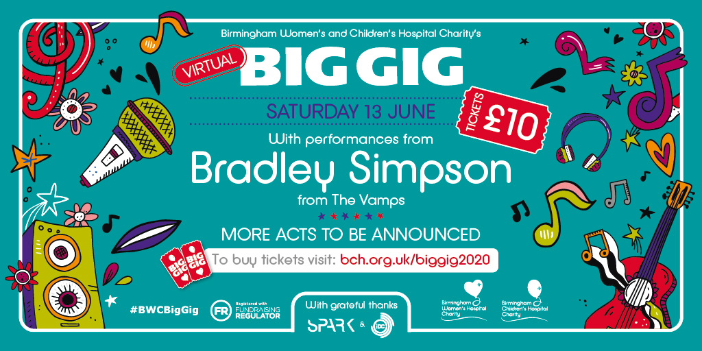 Looks like youre as excited as we are! Thanks to everyone whos bought tickets to our virtual #BWCBigGig. Our show on 13 June promises to be a musical extravaganza, and if you want to join @TheVampsBrad and us, heres how: bch.org.uk/Event/virtual-…