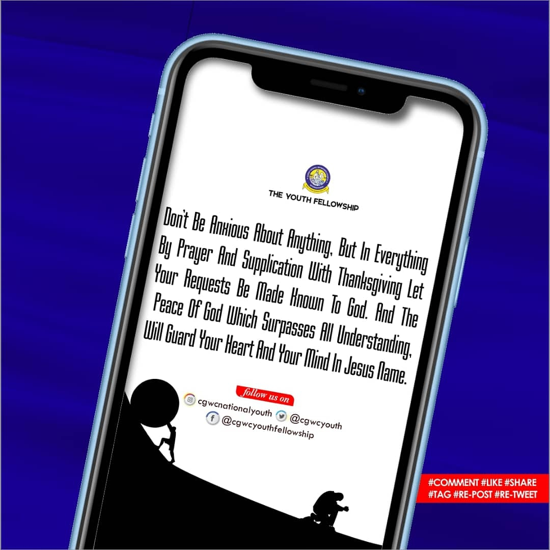 Sunday 31st of May, 2020  Do not be anxious about anything, but in everything by prayer and supplication with thanksgiving let your requests be made known to God. #DailyPost #CaseStudy #CgwcYF #2020 https://twitter.com/CgwcYouth/status/1267048530100830208/photo/1pic.twitter.com/fyj1rSQ5BApic.twitter.com/Kcpk1b5KZt