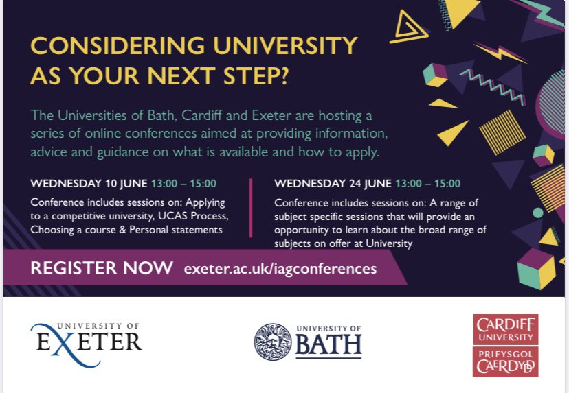 Make sure your students don't miss out on the 'Next Steps for Year 12' IAG conference with @UniofExeter @UniofBath @cardiffuni on Wednesday 10th June! Sign up at: https://t.co/SbOIeeadoV https://t.co/2qSeabZySI