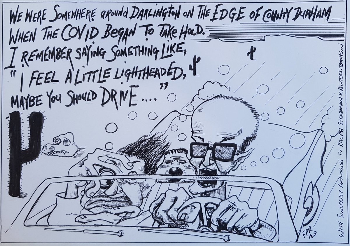 Heres my effort, scrawled with pen in the sun this afternoon (half blind now, so might to go for a long drive to my eyes are ok). With sincere apologies to the great Ralph Steadman and Hunter S. Thompson. @MartinRowson #DrawDominicCummings