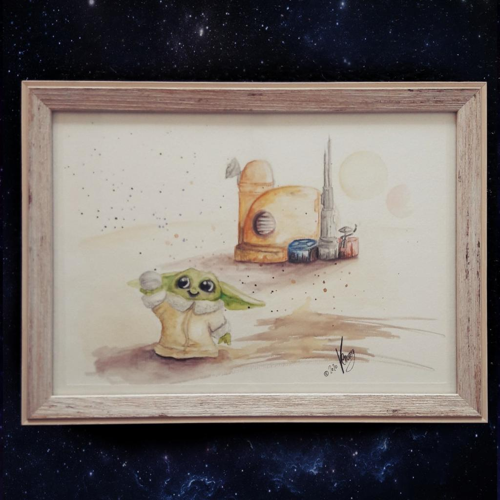 """Birthday present for my little nephew. He turned eight and he asked me for a drawing of Baby Yoda with a """"base"""". I tried my best to create a picture that fits his wish. 😊 #babyyoda #thechild #themandalorian #starwarsfanart #starwars #watercolor  #drawing #art #tattooine https://t.co/keesEFanGw"""