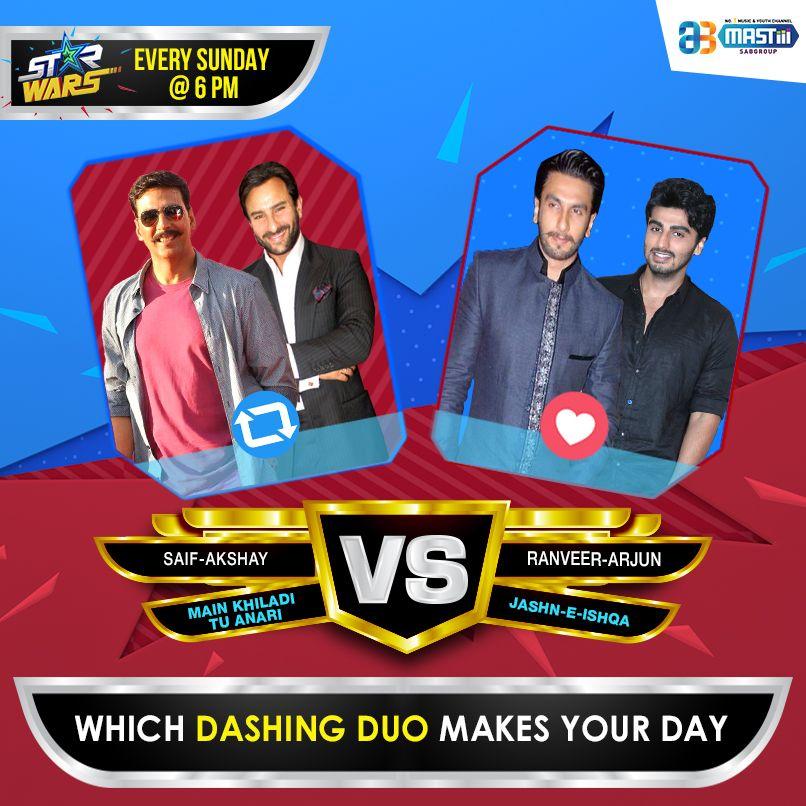 @mastiiitv #StarWars Which Dashing Duo makes your day? 🔄 for #AkshayKumar #SaifAliKhan or ❤️ for #RanveerSingh #ArjunKapoor https://t.co/ZiLurgYBuS