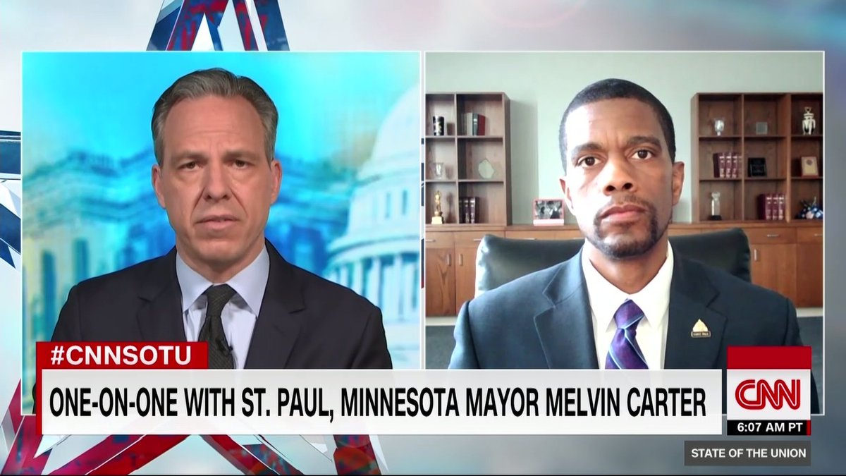 """St. Paul, Minnesota Mayor Melvin Carter says it is clear that some people rioting and looting in his city """"are not driven by a love for our community"""" #CNNSOTU https://t.co/MJzEXdlFWr https://t.co/7Y96vS22cz"""