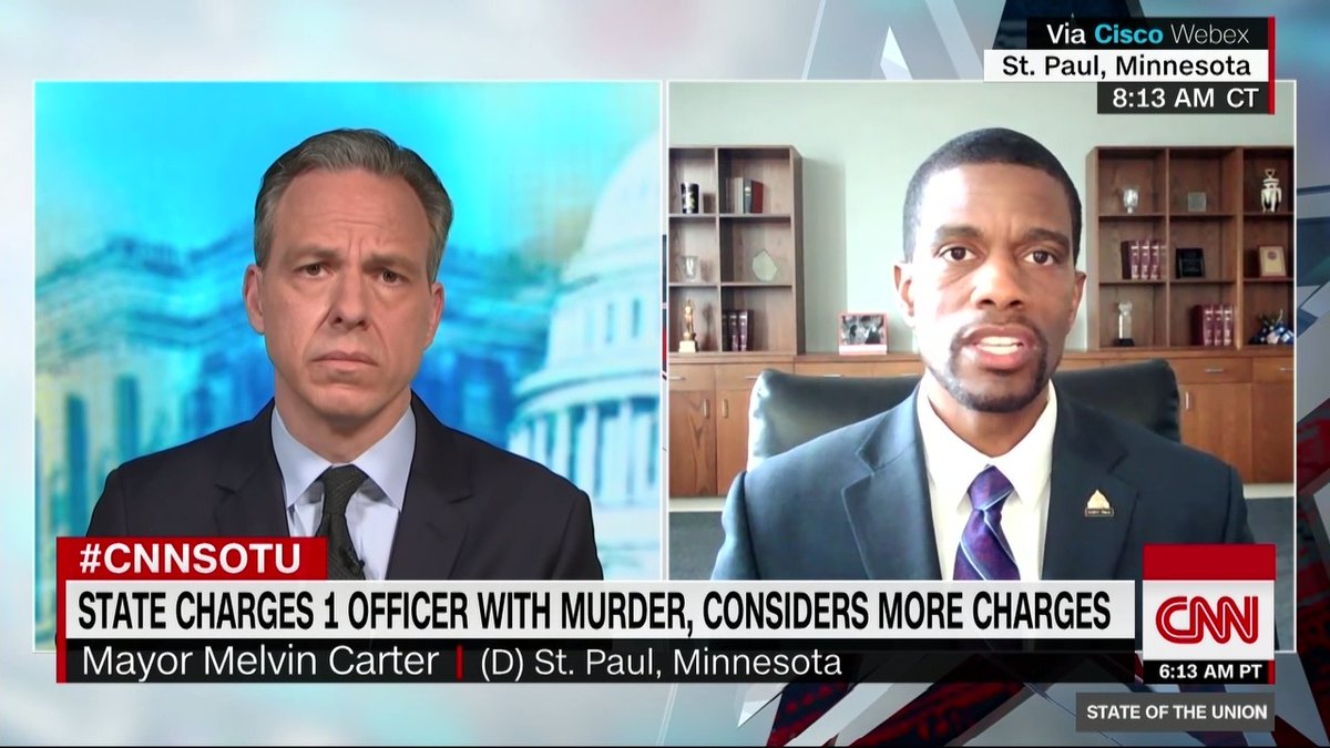 """St. Paul, Minnesota Mayor Melvin Carter: """"When you have four officers in the video all responsible for the taking of George Floyd's life, it points to a normalized culture that's accepted, that's been accepted, and that cannot be a part of our culture moving forward"""" #CNNSOTU https://t.co/Sj5SNYK3TB"""
