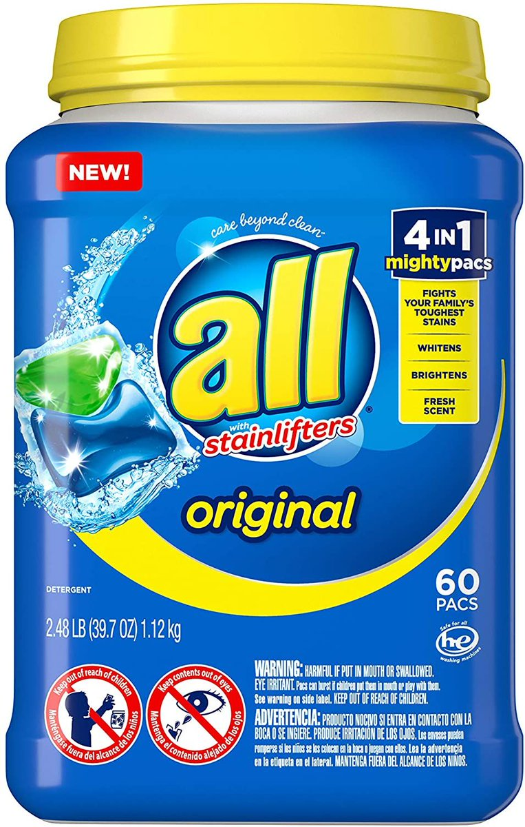 60 All Mighty Pacs Laundry Detergent - 4 in 1 Stainlifter  ONLY $8.52 https://t.co/l89xVH9Oak  #steals #deals #stealsanddeals #promotion https://t.co/eHpNfdCw9r