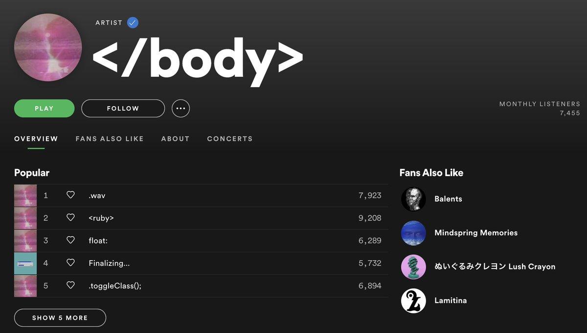 Spotifyのプレイリスト流し聴きしてたらWeb製作者必聴のアーティスト発見した。</body>  #NowPlaying