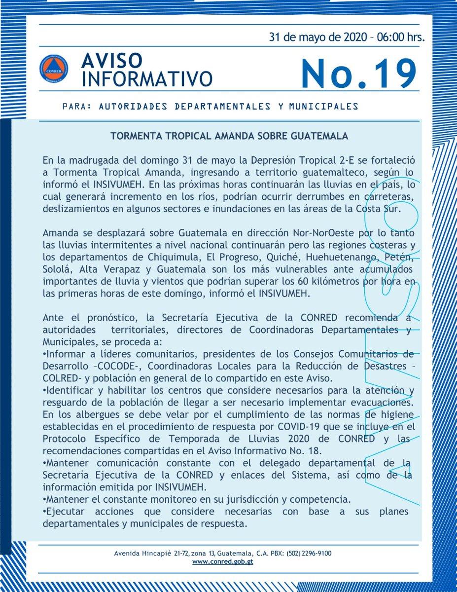 test Twitter Media - Boletín informativo de la @ConredGuatemala sobre la Tormenta Tropical Amanda y su paso sobre Guatemala https://t.co/DaLiDEW9AO
