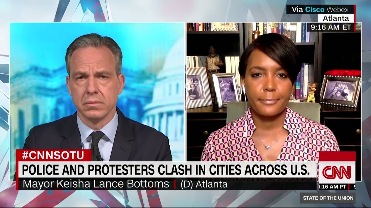 """""""This is like Charlottesville all over again. He speaks and he makes it worse. There are times when you should just be quiet. And I wish he would just be quiet."""" Atlanta Mayor Keisha Lance Bottoms reacts to President Trump's handling of protests across the country #CNNSOTU https://t.co/YvbyZkUug2"""