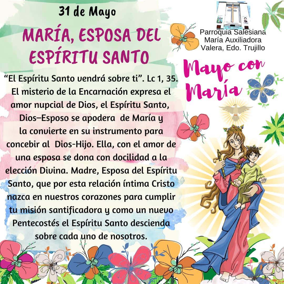#31Mar  María, esposa del Espíritu Santo  #MayoConMaríapic.twitter.com/gEkpmfFFNG