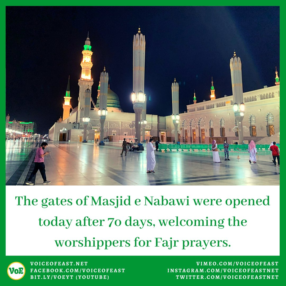 Alhamdulillah the gates of Masjid e Nabawi were opened today after 70 days, welcoming the worshippers for Fajr prayers. #Harmain #MasjidAlNabwi #Madinah #Lockdown2020 #VoE #VoiceofEast    https://www.facebook.com/VoiceOfEast/posts/2906686769447434…  https://www.instagram.com/p/CA2p7vbJTHz/pic.twitter.com/v5nnOqfc5z