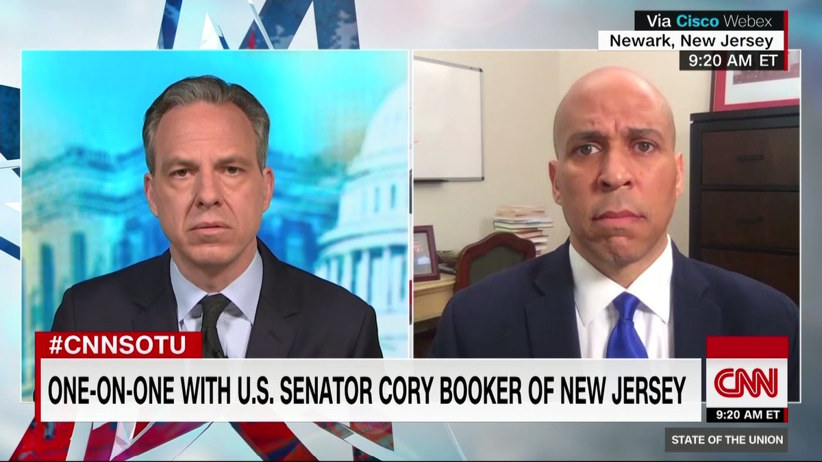 """Sen. Cory Booker: """"You understand that what we see manifesting right now is not just a reaction to a live or caught-on-tape murder but to deep wounds within our society, within our body politic, that are festering within our country and must be addressed"""" #CNNSOTU https://t.co/R1QgeWRz4k"""