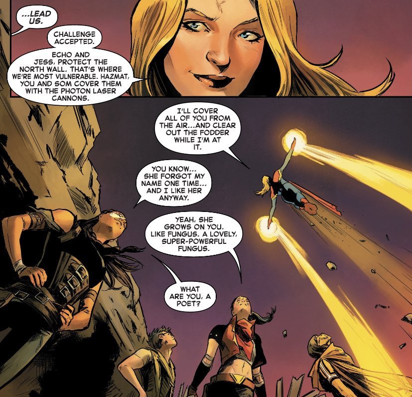 """""""You have no idea what a real leader is. A leader has to project confidence. Fight for what she believes in. But never stop questioning, wondering how to be better. You take in everything... and make your call.."""" #CaptainMarvel https://t.co/QEDIX28N8S"""