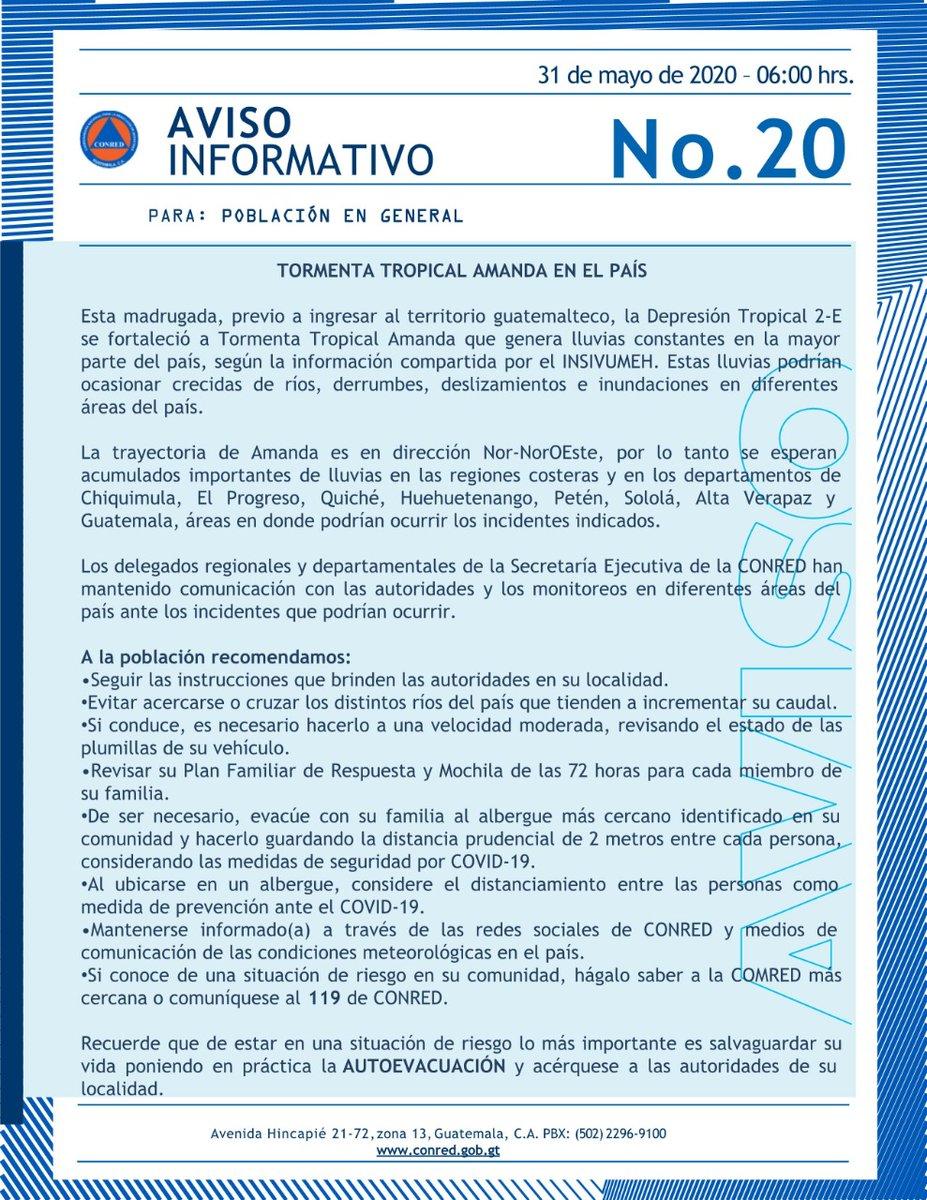 test Twitter Media - La @ConredGuatemala emite nuevo boletín informativo sobre la Tormenta Tropical Amanda y su paso sobre Guatemala https://t.co/6ydJ924uGB