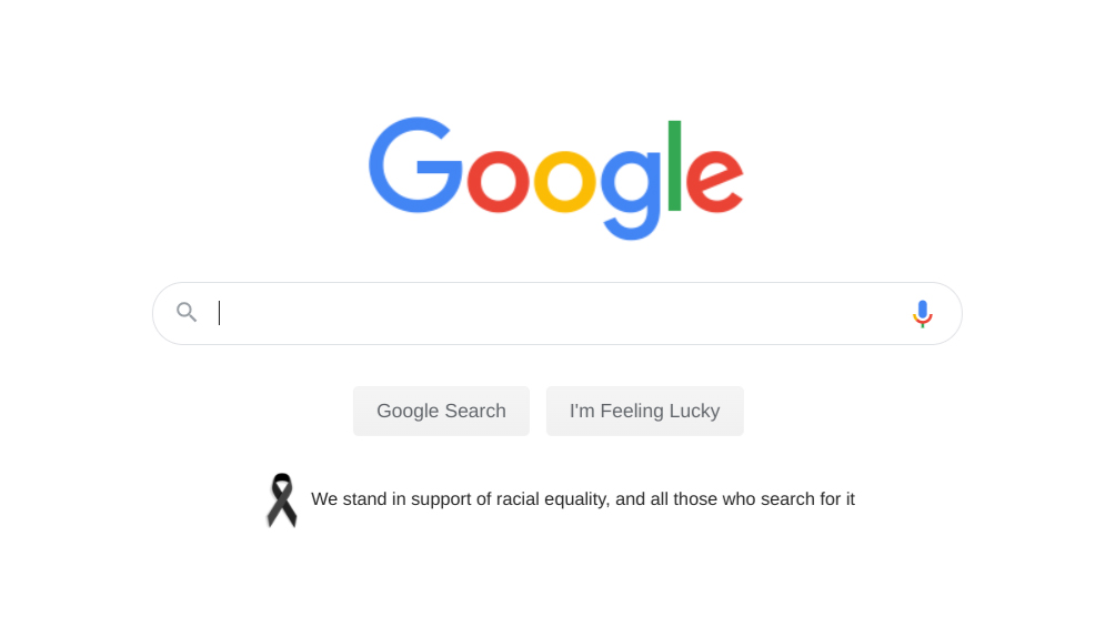 Today on US Google & YouTube homepages we share our support for racial equality in solidarity with the Black community and in memory of George Floyd, Breonna Taylor, Ahmaud Arbery & others who don't have a voice. For those feeling grief, anger, sadness & fear, you are not alone. https://t.co/JbPCG3wfQW