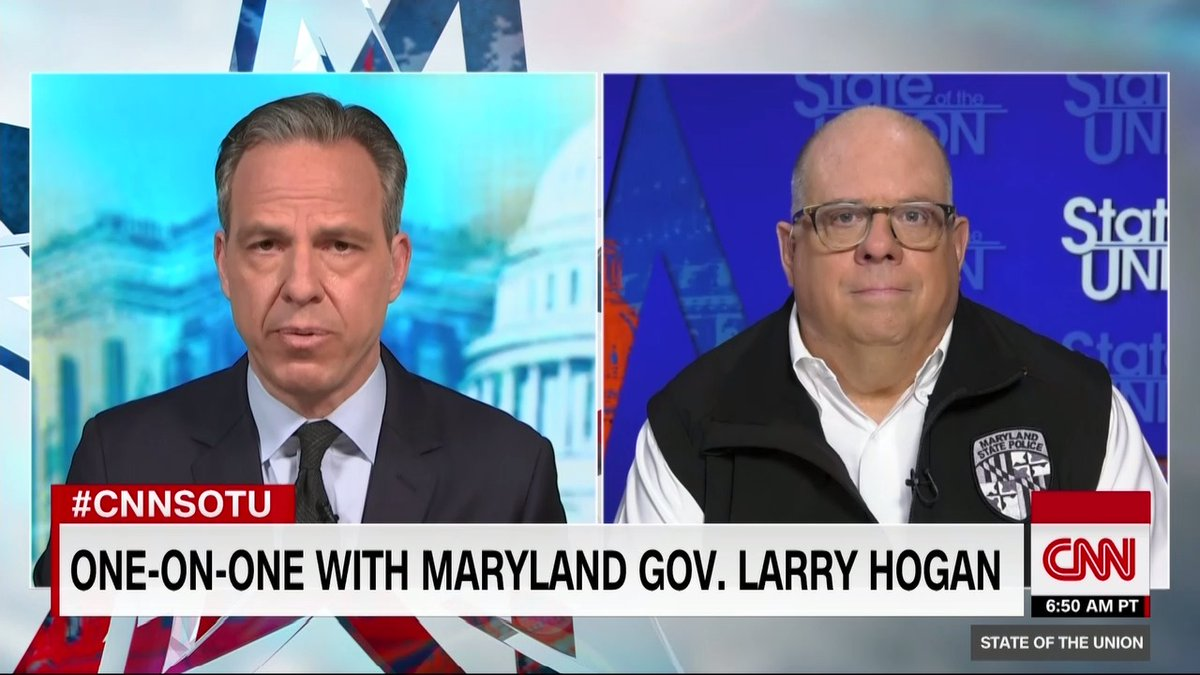 """Republican Governor Larry Hogan of Maryland says President Trump's comments on the events of the week are """"continuing to escalate the rhetoric.""""  """"I think it's just the opposite of the message that should have been coming out of the White House"""" #CNNSOTU https://t.co/8H7pWmOjKl"""