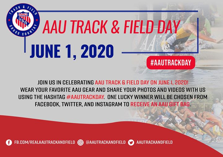 Tomorrow is #AAUTrackDay! We want you to Celebrate with us!  Show us your photos or videos (old or new), for a chance to win a free gift bag. Makes sure you use the hashtag #AAUTrackDay on June 1st and tag #AAUTrackandField https://t.co/s2Z4XfDO6p